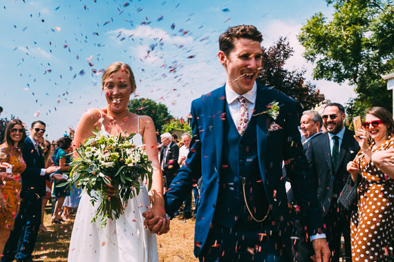 Colourful confetti shot at Glyndwr Vineyard wedding in Cowbridge