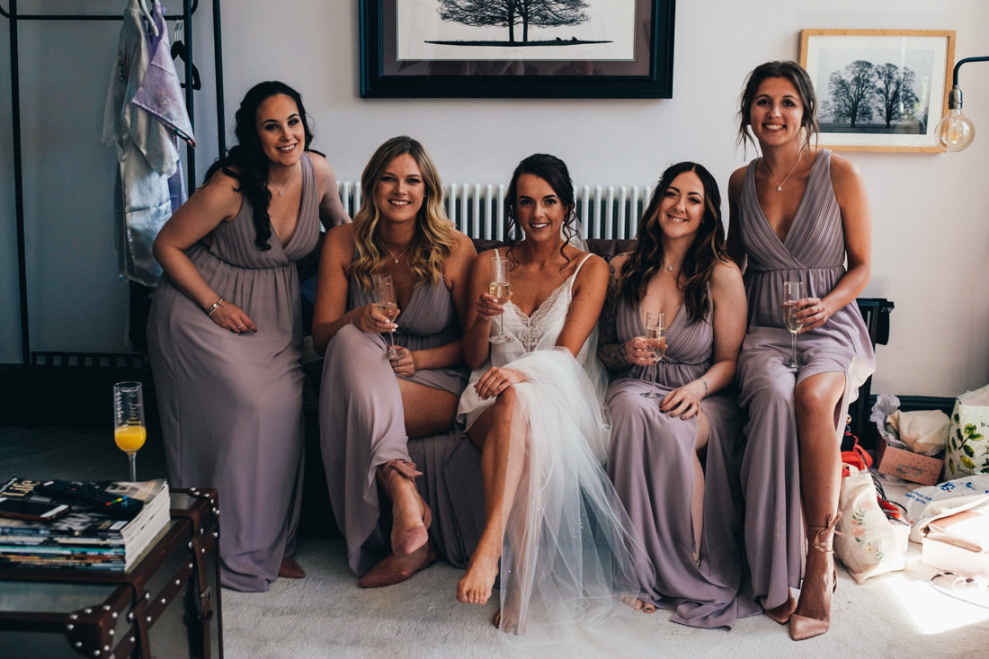 003 BEAUTFUL BRIDAL PARTY PORTRAIT DURING BRIDE PREP 64 CATHEDRAL ROAD CARDIFF WEDDING PHOTOGRAPHER