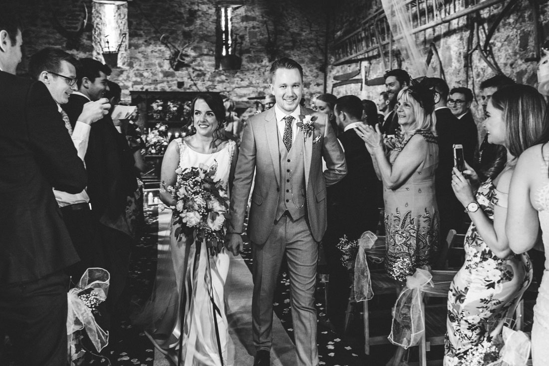 1001 BLACK AND WHITE WEDDING PHOTOGRAPH OF JUST MARRIED COUPLE BARN CEREMONY USK CASTLE WEDDING