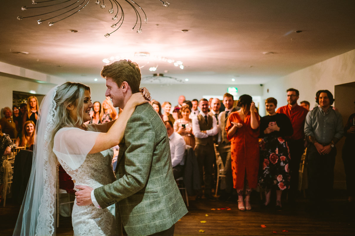 BRIDE GROOM FIRST DANCE NEW GOWER HOTEL WEDDING PHOTOGRAPHY SWANSEA