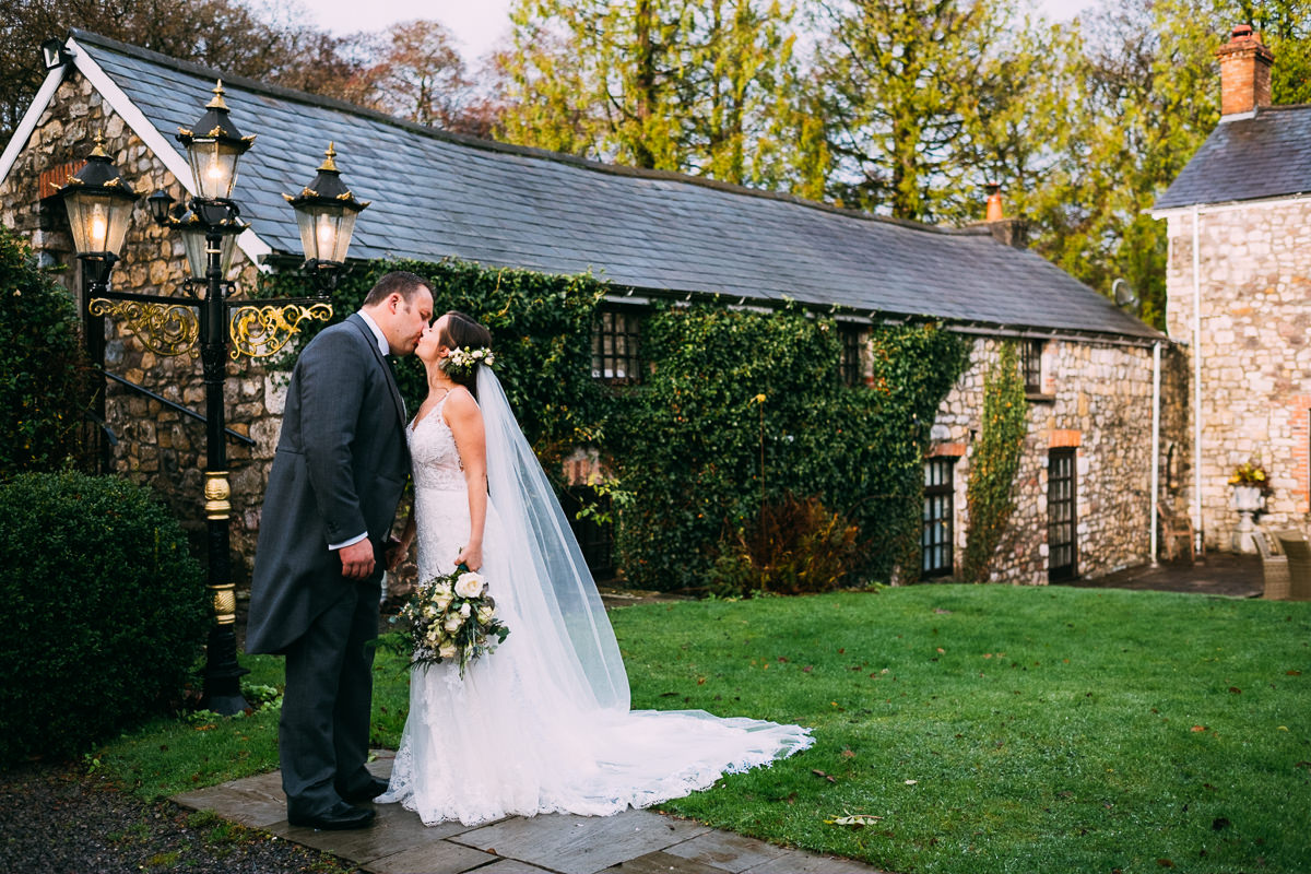 002 BEAUTIFUL OUTDOOR PORTRAIT AT GROUNDS PENCOED HOUSE ESTATE WEDDING PHOTOGRAPHY CARDIFF