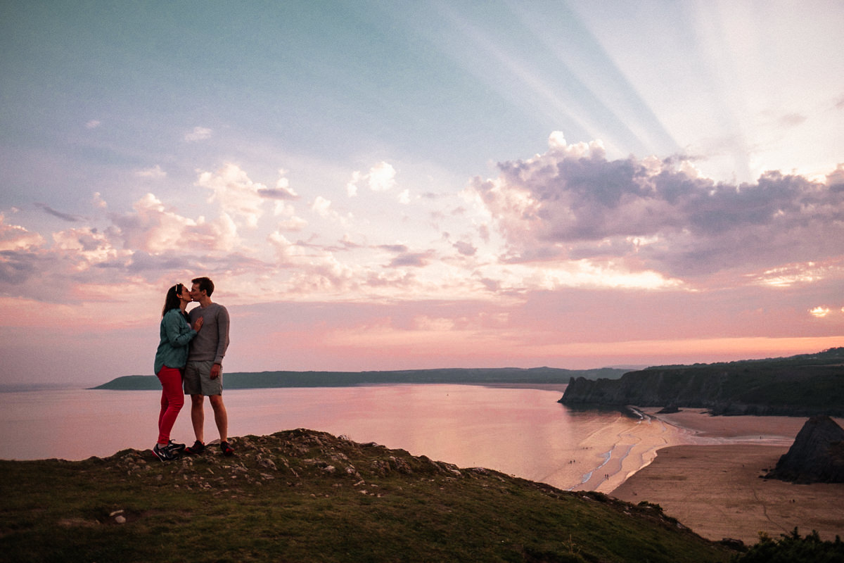 Pre-Wedding Sunset Shoot at Three Cliffs Bay, Gower, Swansea