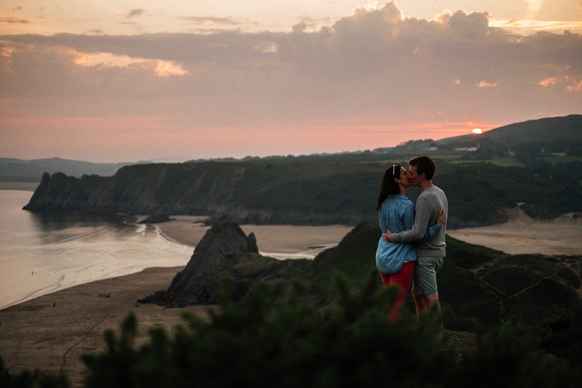 007 SUNSET ENGAGEMENT SHOOT THREE CLIFFS BAY GOWER SWANSEA PHOTOGRAPHY